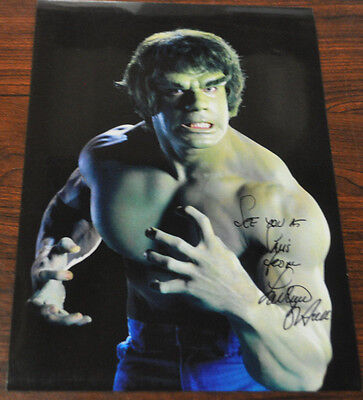 Autographed Lou Ferrigno Glossy Photo Inscribed! The Hulk! Must See.