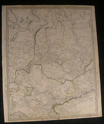 West Siberia Independent Tartary Aral Sea 1838 antique engraved hand color map