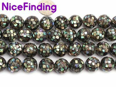 10,14mm Round Faceted Natural Abalone Shell Loose Stone Beads For Jewelry Making