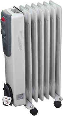 7 Fin Oil Filled Radiator Electric Heater Adjustable Thermostat 1500W Heat