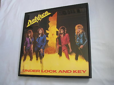 DOKKEN Under Lock And Key LP cover framed for wall mounting black/silver/walnut