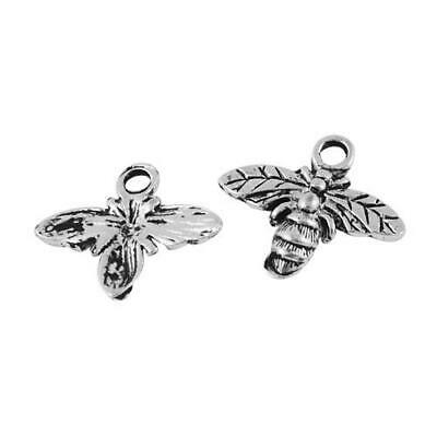Packet of 20 x Antique Silver Tibetan 16mm Charms Pendants (Bee) ZX11615