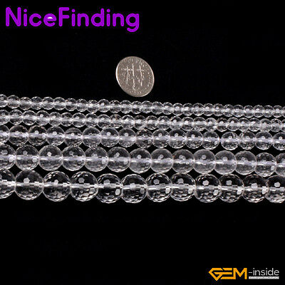Round Faceted Rock Clear Quartz Crystal Jewelry Making Stone Beads Free Shipping