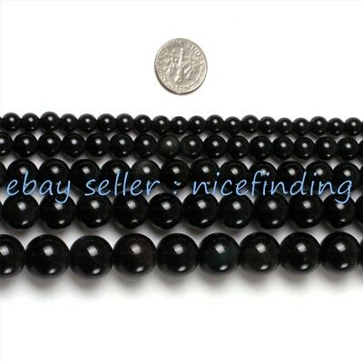 """Natural Black Obsidian Round Gemstone Beads For Jewellery Making Loose Beads 15"""""""