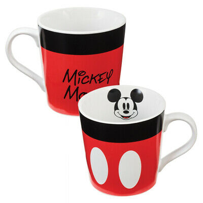 Walt Disney Classic Mickey Mouse 12 oz White Red & Black Ceramic Mug, NEW UNUSED