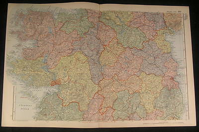 Central Ireland Galway County Dublin Bay c.1890 antique color lithograph map
