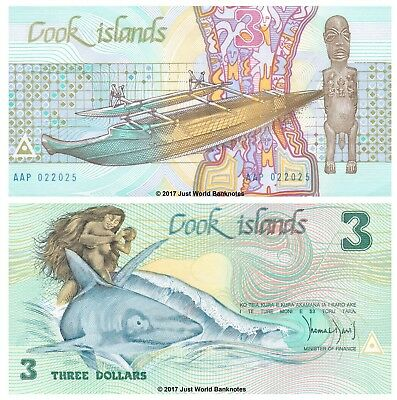 Cook Islands 3 Dollars 1987 Naked Ina on Shark  P-3a Banknotes UNC