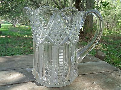 Large Antique GLASS PITCHER cut pressed Pattern