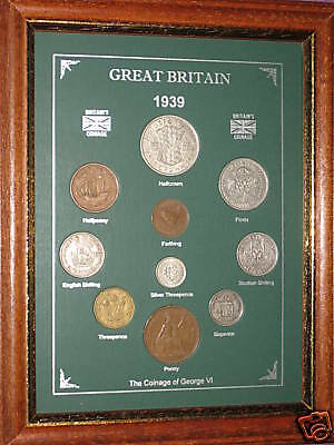 FRAMED 1939 GB GREAT BRITISH COIN YEAR SET (VINTAGE 78th BIRTHDAY PRESENT GIFT)
