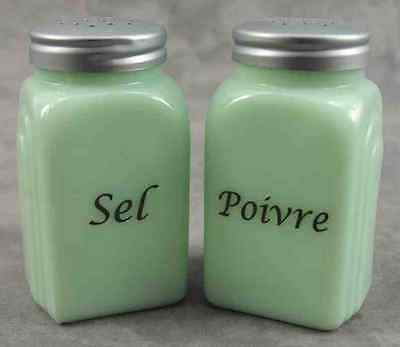 Jadeite Green Glass Arch French ~ Sel & Poivre ~ Salt & Pepper Shaker Set
