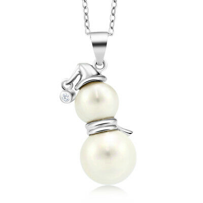 "925 Silver 1 Inch Snowman with Scarf and Hat Shell Pearl Pendant with 18"" Chain"