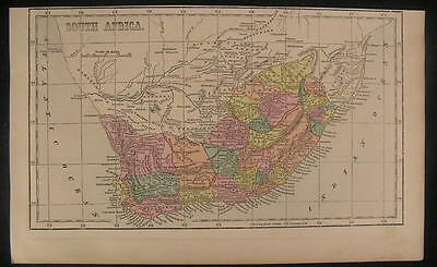South Africa Albany Somerset Worcester c.1855 antique engraved color map