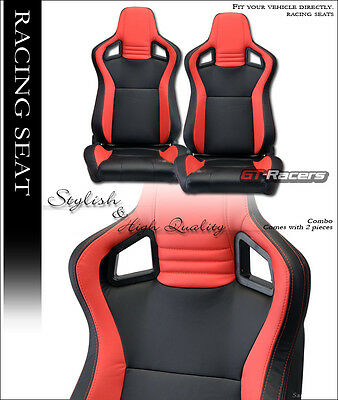 2X UNIVERSAL MU BLACK/RED PVC LEATHER w/STITCHES RACING BUCKET SEATS+SLIDERS G12