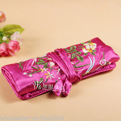 Chinese Silk Wrap Organizer Jewelry Roll Travel Makeup Bag Case Pouch