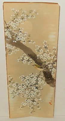Japanese Birds In A Blossom Tree Original Watercolor Painting Signed