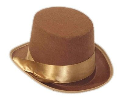 Steampunk Brown Topper Top Hat  Victorian Halloween Adult Men Costume Accessory