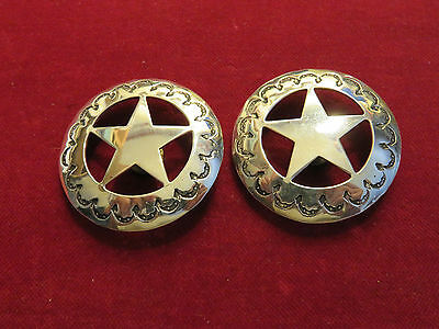 """CONCHOS: Pair 1 3/4"""" Sterling Hand Tooled Circle Star"""