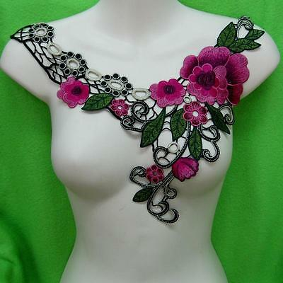 Flower Floral Collar Sequins Sew on Patch Cute Applique Badge Embroidered Sexy
