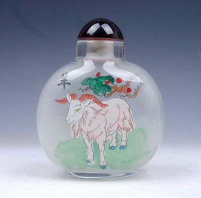 Peking Glass Inside Zodiac Sign Sheep Reverse Hand Painted LARGE Snuff Bottle