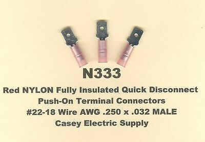 25 Red NYLON Insulated MALE Push On QD Terminal Connector #22-18 Wire .250 MOLEX