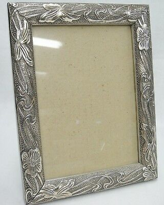 Silver Metal Overlay Wooden 5x7 Frame Easel Back Embossed Vines Flowers Unused