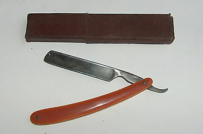 ANTIQUE VINTAGE MEDICAL STRAIGHT RAZOR with CELLULOID HANDLE IN CARDBOARD BOX