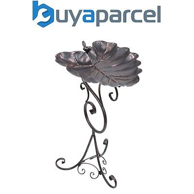Gardman A09701 Bronze Ornate Leaf Pedestal Metal Bird Bath Garden Feeder