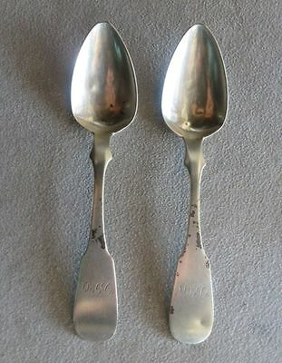 ca. 1840 COIN SILVER 2 SPOONS LYNCHBURG VIRGINIA HENRY SILVERTHORN w/ PROVENANCE