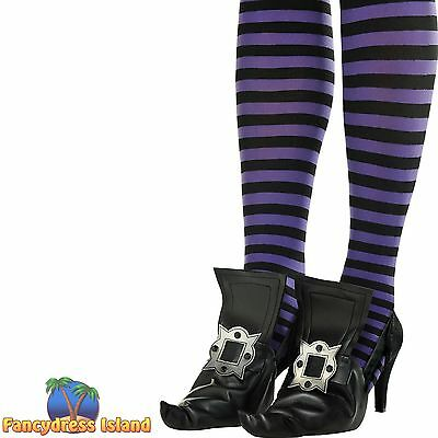 BLACK WITCH SHOE COVERS WITH BUCKLE - halloween ladies womens fancy dress