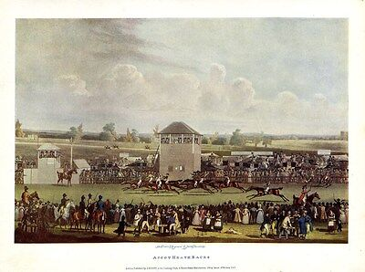 Horse Racing Color Print Ascot Heath Races Turf Jockey Spectators The Finish
