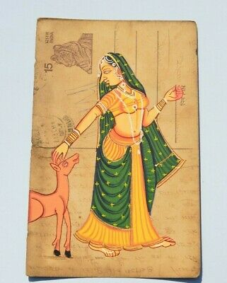 A Lovely Old Rajasthan Miniature Painting Indian Postcard Of A Woman No 000