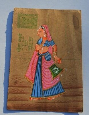 Lovely Old Rajasthan Miniature Painted Indian Postcard Of A Indian Woman No 001