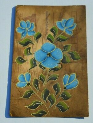 A Nice Old Rajasthan Miniature Painted Indian Postcard Of Exotic Flowers No 005