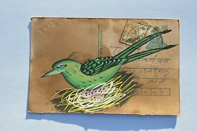 An Old Rajasthan Miniature Painted Indian Postcard Of A Pair Birds  No 009