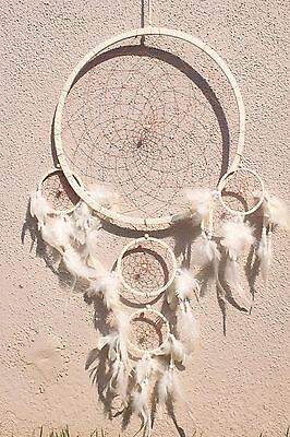Large White Dream Catcher Handmade w/ Leather Feather Home Wall Decor ( Qty 2 )
