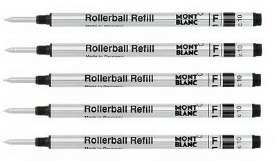5 - MONTBLANC GENUINE Rollerball Pen Refills - BLACK FINE - bulk packed