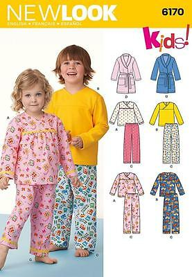 New Look Sewing Pattern Toddlers & Child's Pajamas Sizes 1/2 - 8 6170