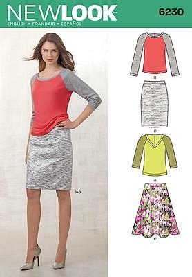 New Look Sewing Pattern Misses' Knit Top Full Or Pencil Skirt Size 4 - 18 8 6230