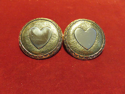 """Bridal Rosettes: Pr. 2""""  Tooled Brass Tri-Metal with Sterling Heart."""