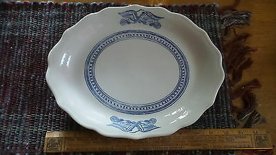 Vtg Syracuse China Restaurant Ware OVAL PLATE, LIBERTY Blue,Eagle,Patriotic 12""