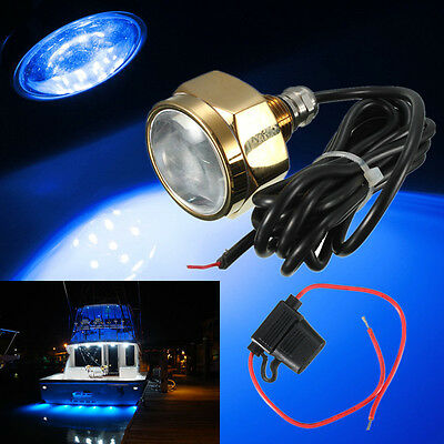 Blue IP68 Waterproof Boat Drain Plug Light  Rate 9 LED brightest 27W 1800 LM NEW