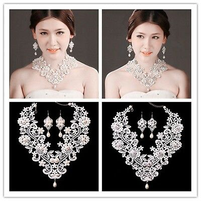 Luxurious Wedding Bridal Jewelry Set White Pearl Crystal Lace Necklace Earrings