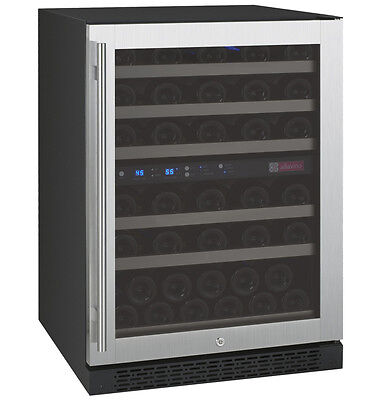 Allavino 56 Bottle Built-In Wine Cooler Refrigerator Stainless Steel Dual Zone