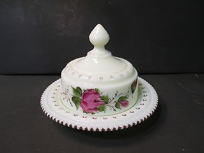 Heisey Custard Glass Butter Dish - Ring Band With Rose Decor