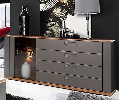 sideboard kommode matt wei glas grau steinoptik neu 28929 eur 599 00 picclick de. Black Bedroom Furniture Sets. Home Design Ideas