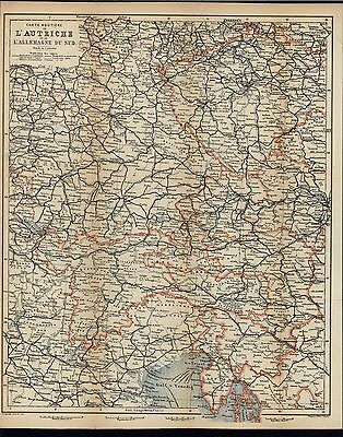 Austria Southern Germany Bohemia 1893 antique detailed color lithograph map