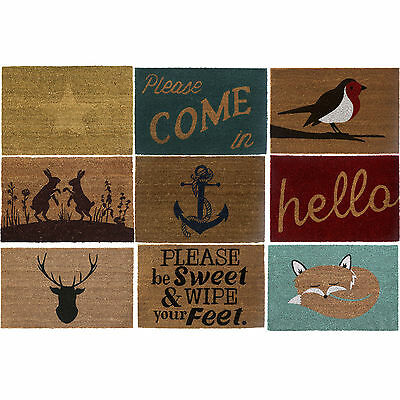 Natural PVC Non Slip Welcome Floor Entrance Doormats Natural Coir Front Doormats