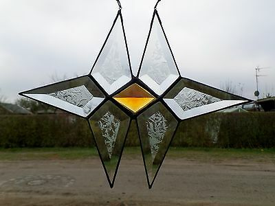 Leaded Glass Window Picture Facets - Twin Star With Tiffany