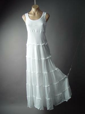 Victorian Boho Medieval Peasant Cotton Tiered Chemise Day Gown Long 150 mv Dress