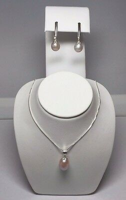 Sterling Silver Genuine Pink Cultured Freshwater 8mm Pearl Necklace/Earrings Set